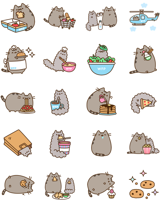 Pusheen eats facebook stickers. Exercise clipart kawaii