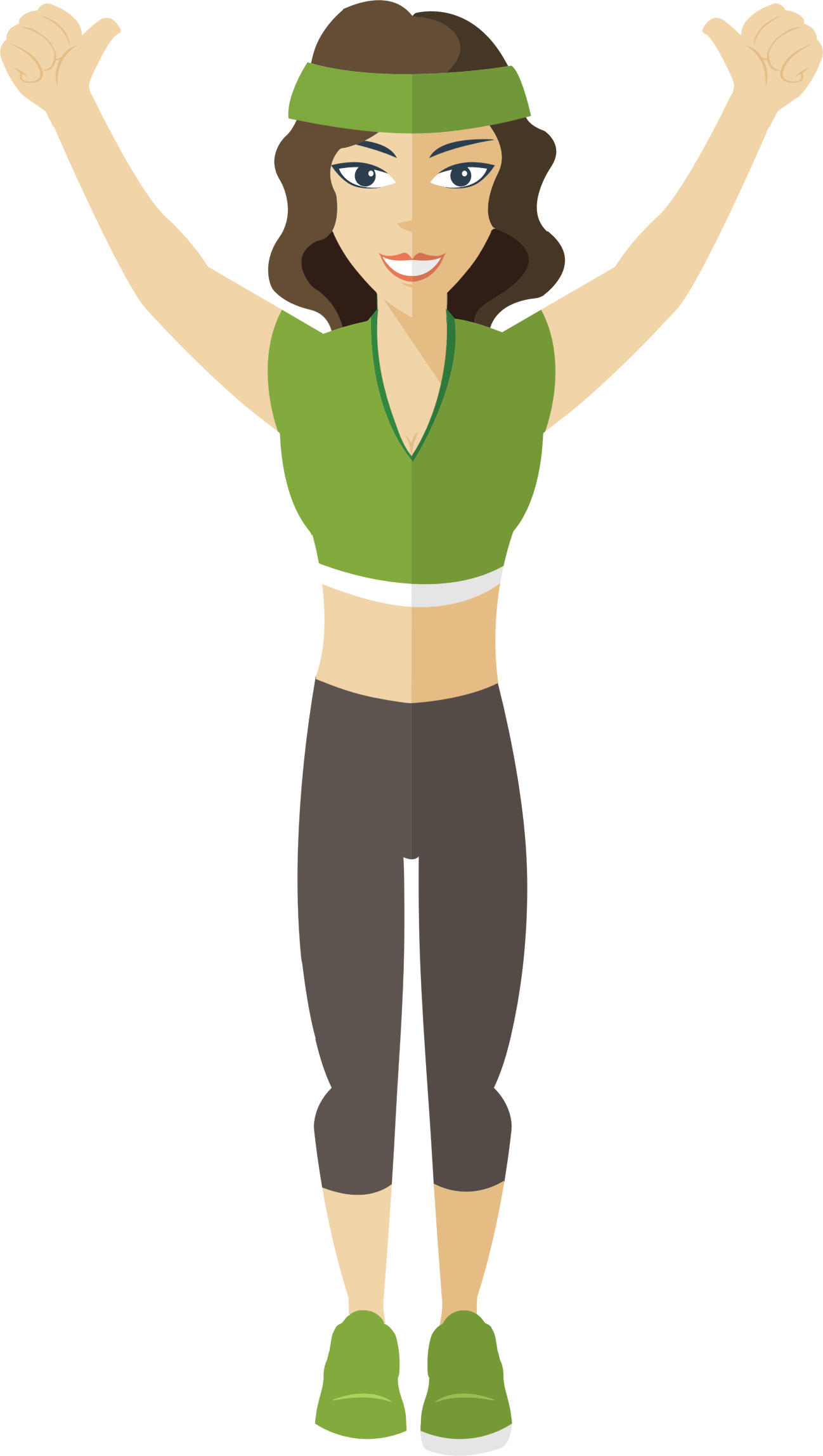 Exercising clipart character. Flat shaded fitness woman