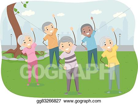 Exercise clipart park. Vector stock stickman seniors