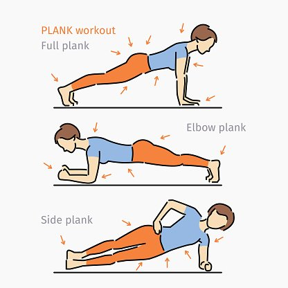 Clipart exercise plank. Woman making premium clipartlogo