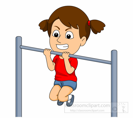 Exercise clipart pull up. Girl struggles with portal