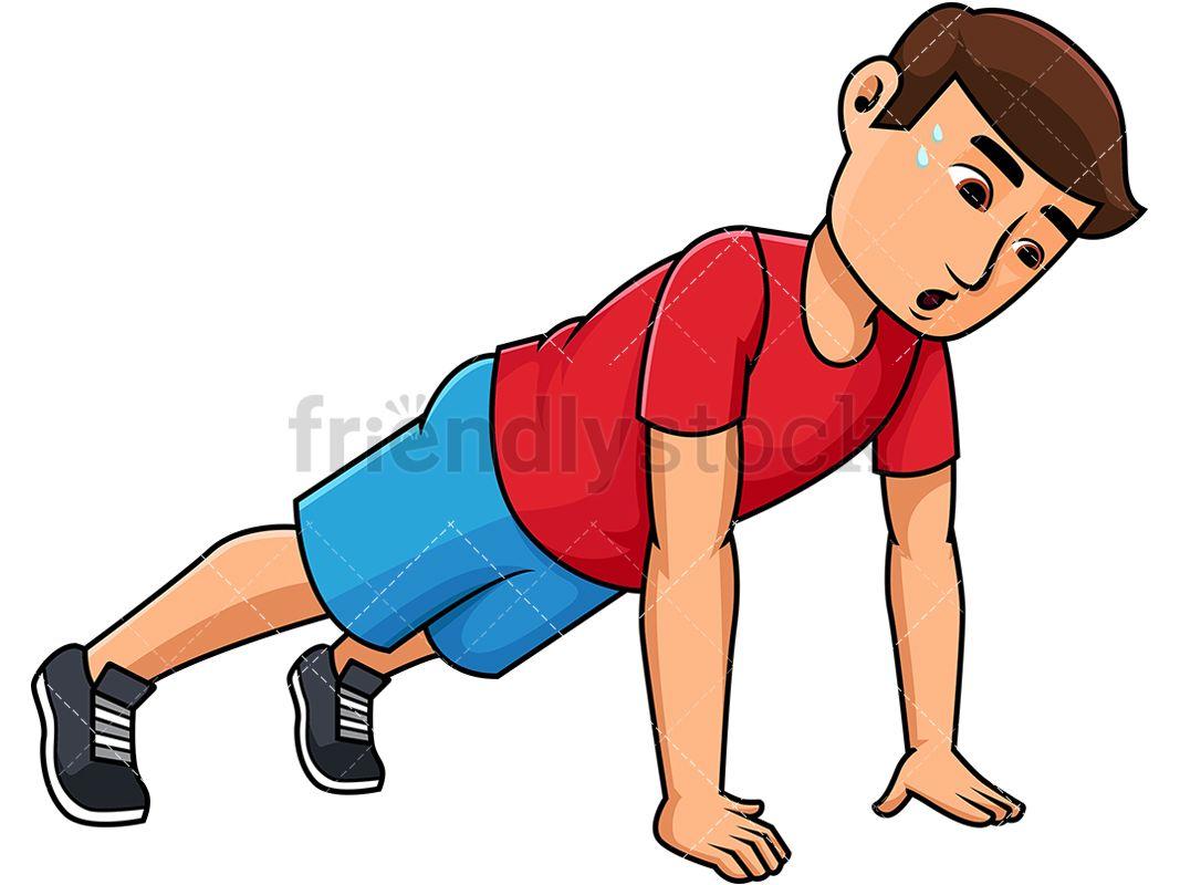 Young man doing ups. Exercising clipart push up
