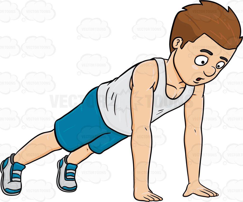 Exercising clipart push up. A man doing ups