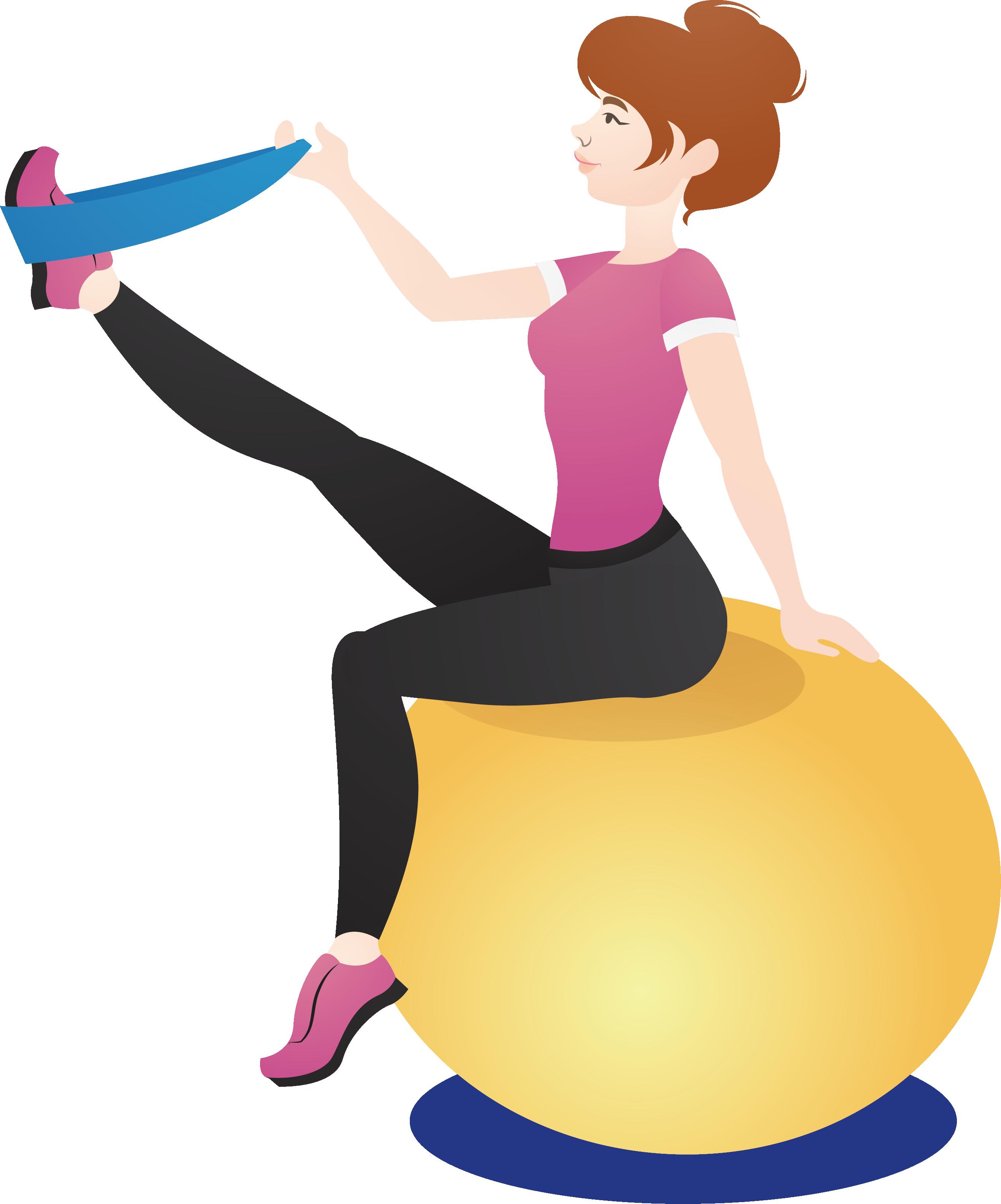 Physical yoga artworks ball. Fitness clipart balance exercise