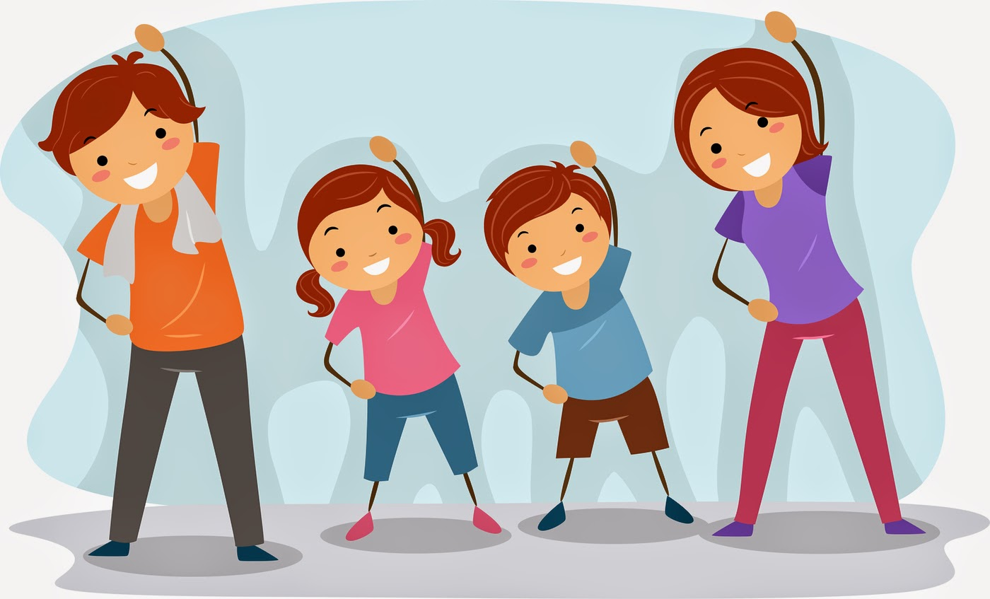 Gym clipart family. Fitness physical exercise kid