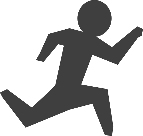 Gray man running clip. Exercising clipart runner