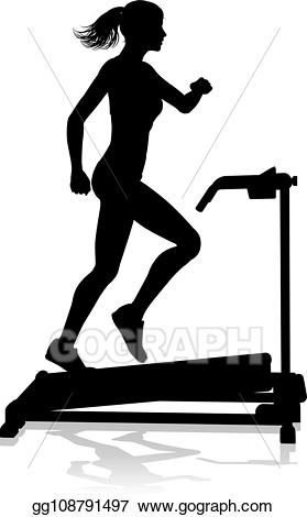 Exercising clipart running machine. Vector illustration gym woman