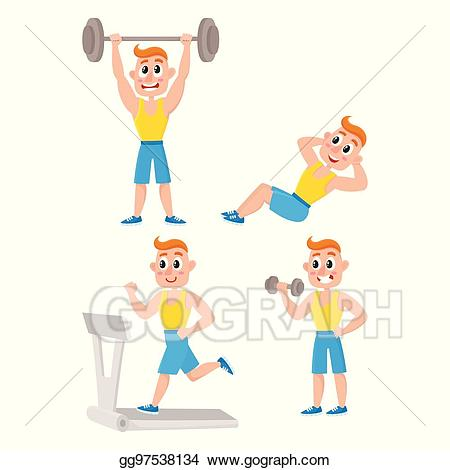 Exercising clipart exercise training. Clip art vector young