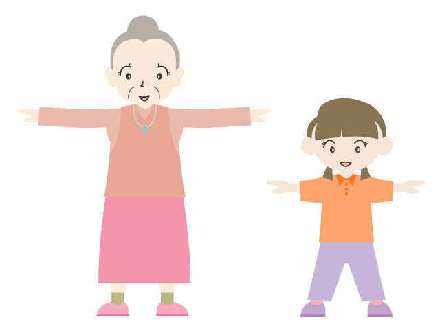 Early rising radio grandmother. Exercise clipart summer