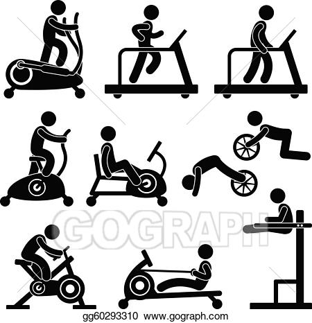 Exercising clipart gym. Vector gymnasium fitness exercise