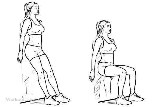 Lower body workout sits. Exercising clipart wall sit