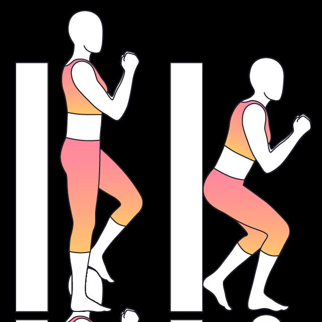 Exercising clipart wall sit. Physera single leg squat
