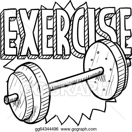 Vector illustration workout sketch. Exercising clipart weight gym