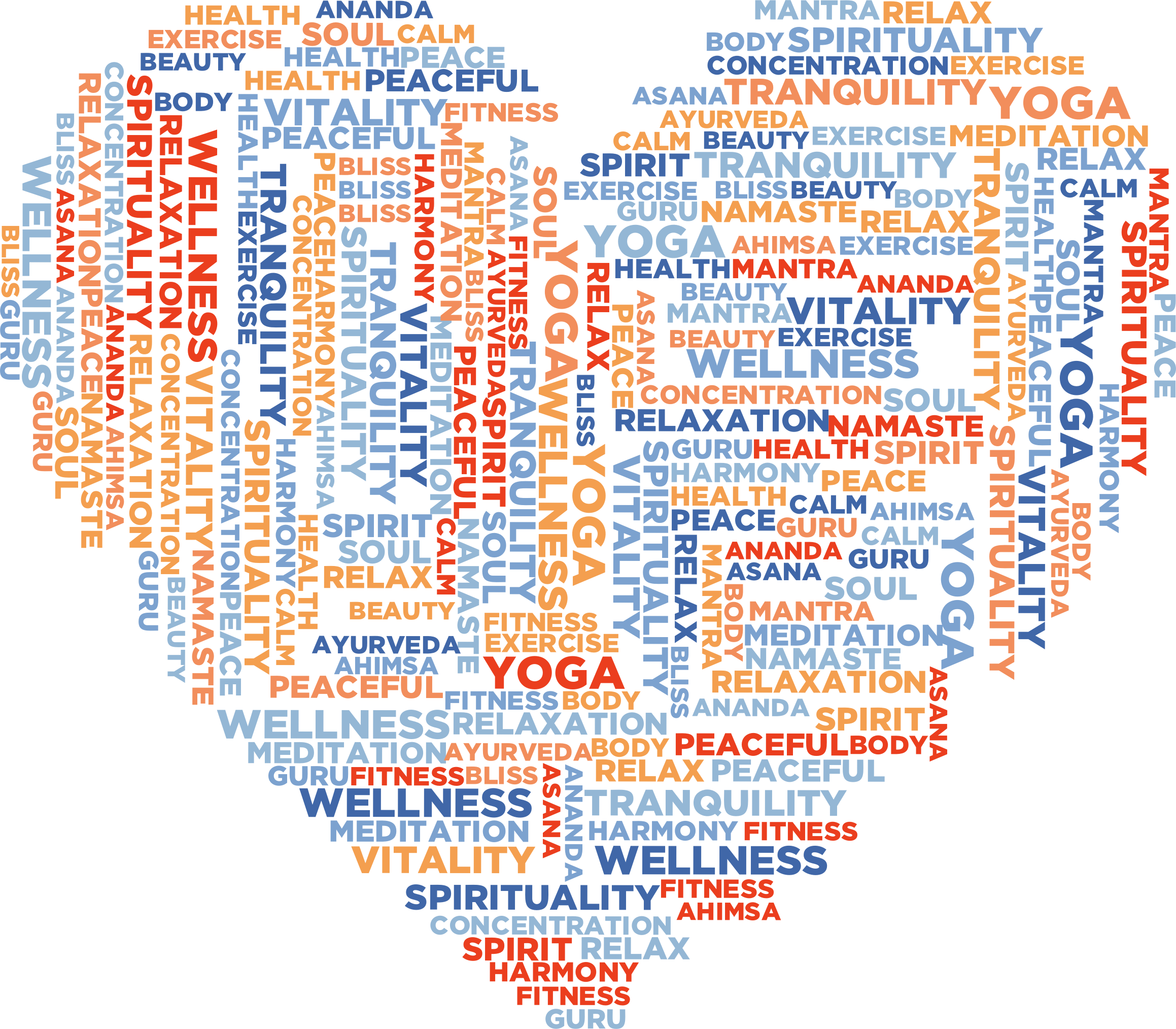 Yoga love word cloud. Words clipart exercise