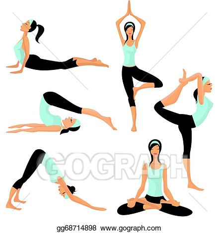 Eps illustration poses vector. Exercise clipart yoga