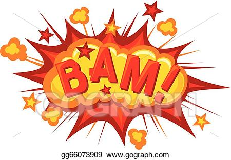 Explosion clipart bam. Vector art cartoon comic