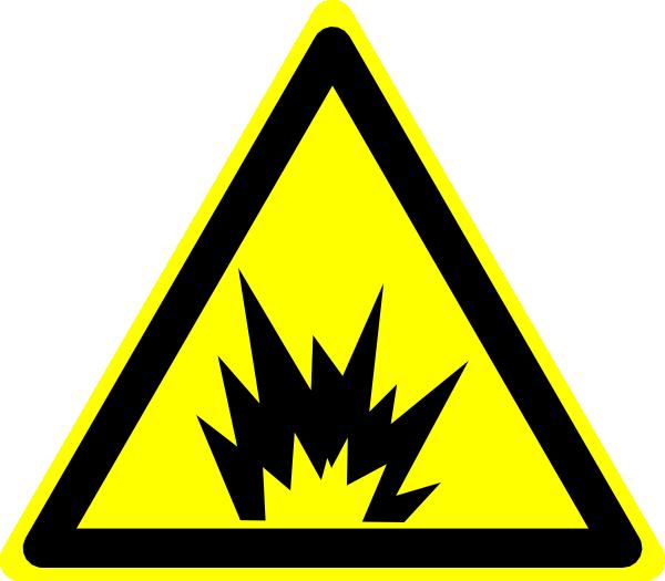 Hazard warning sign clip. Scientist clipart explosion