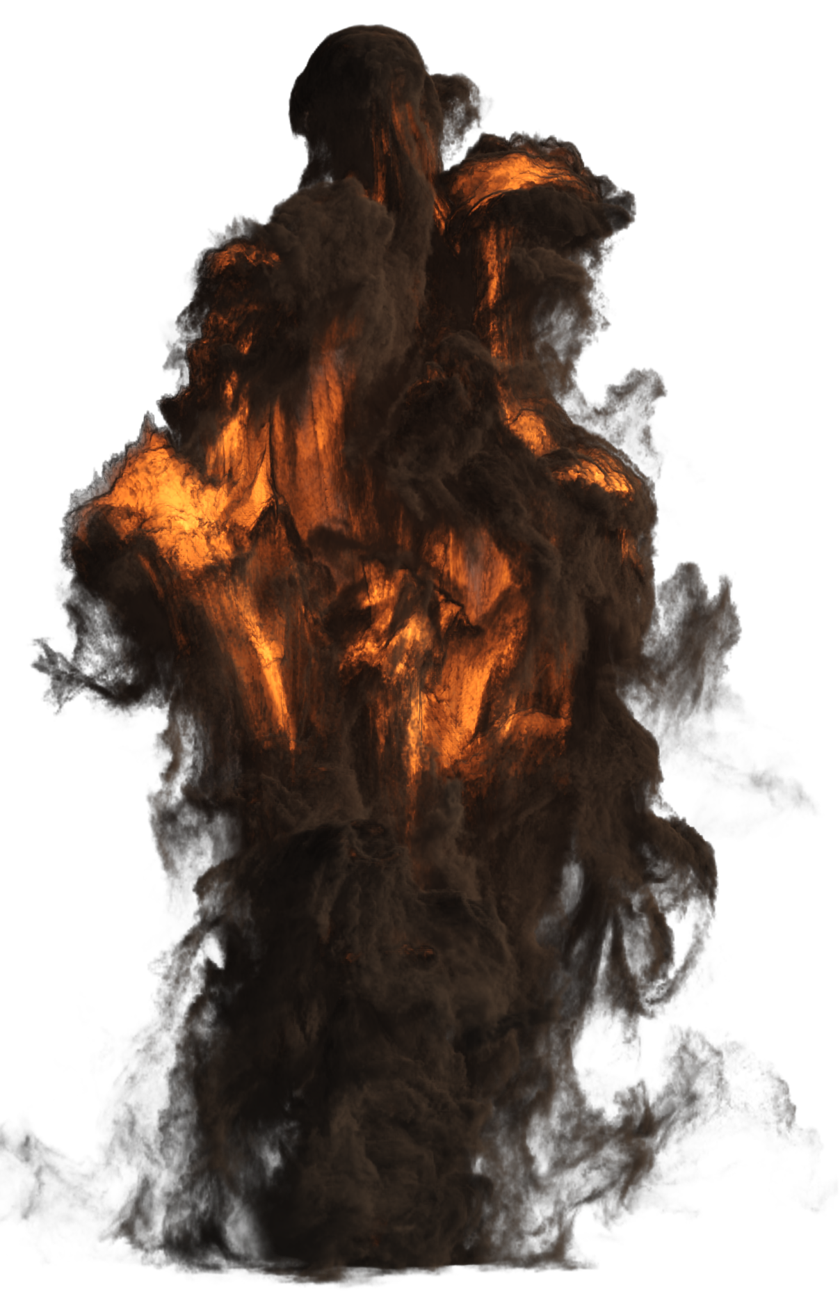 Big explosion with image. Fire and smoke png