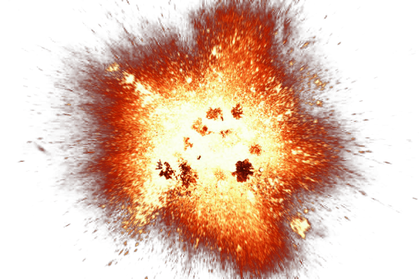 Big with and smoke. Fire clipart explosion