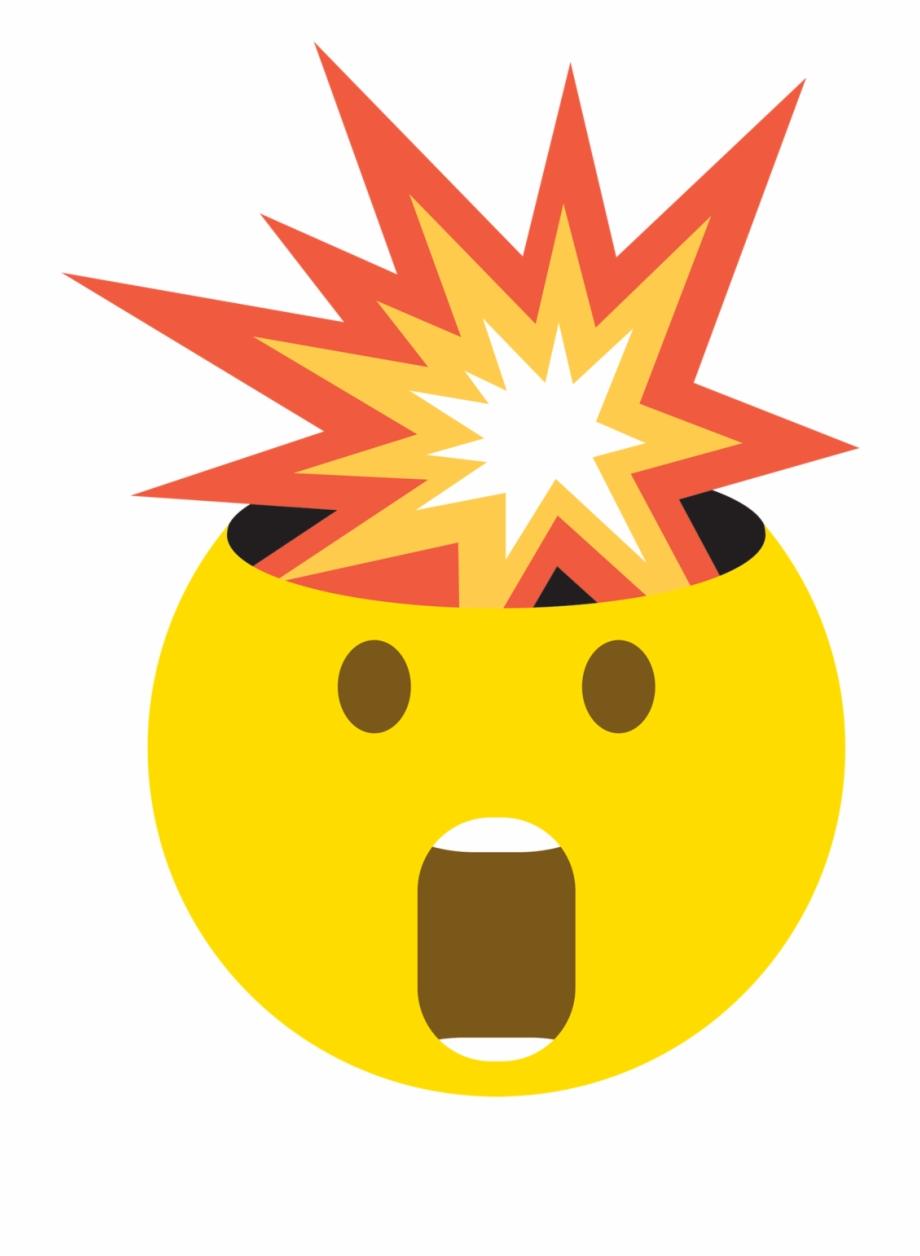 Mind blown emoji shock. Clipart explosion head explosion