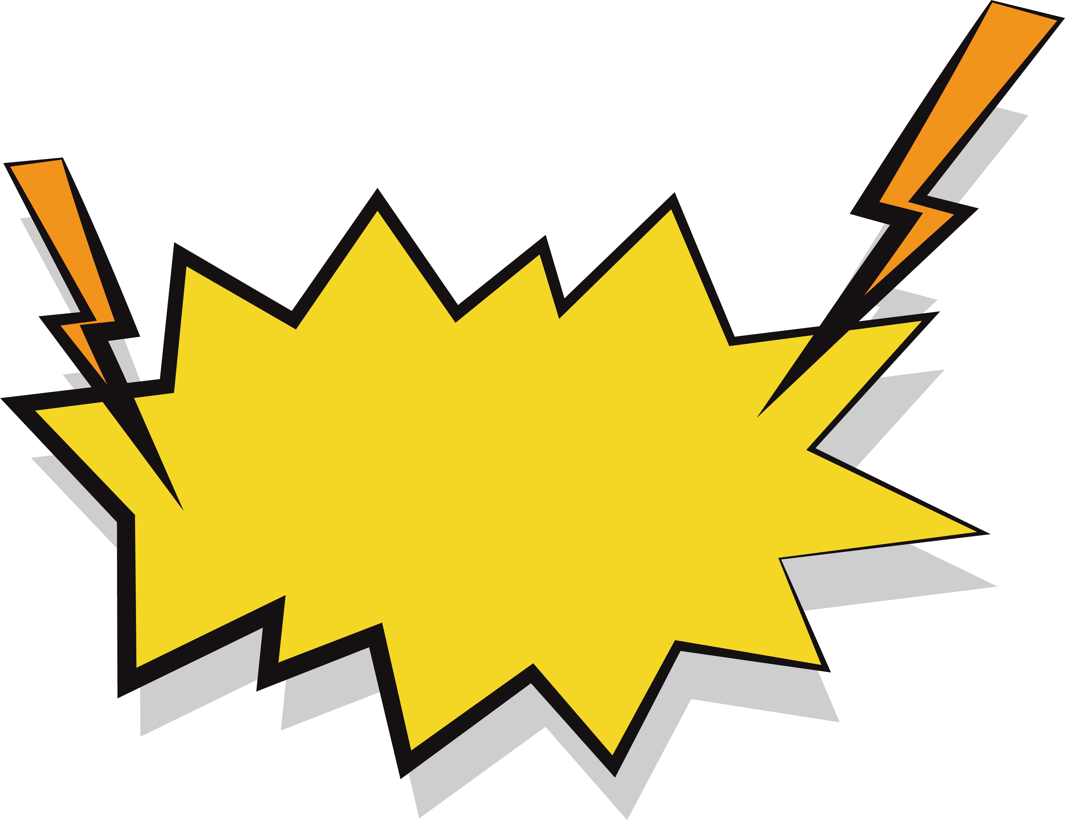Lightning effect yellow stickers. Clipart explosion leaf