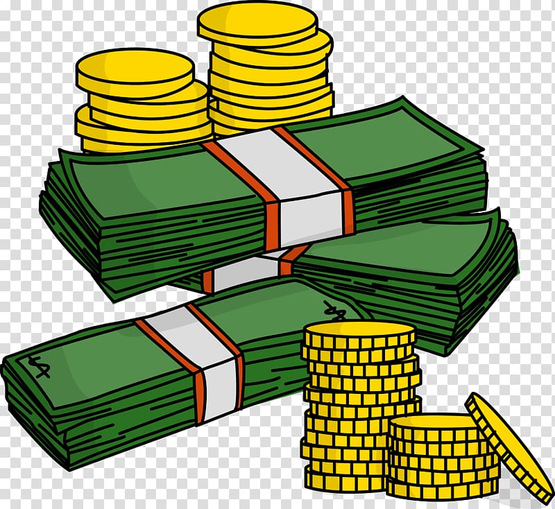 Coin and banknote illustration. Coins clipart lot money