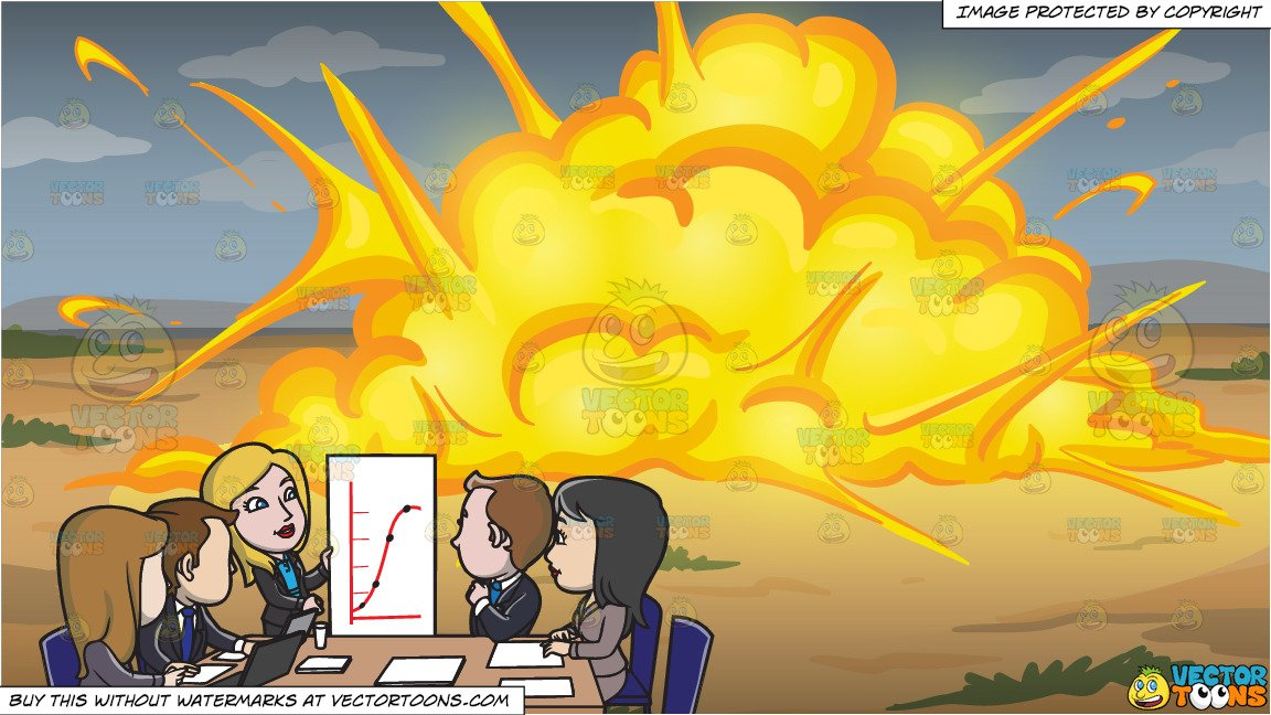 Clipart explosion office. An important meeting at