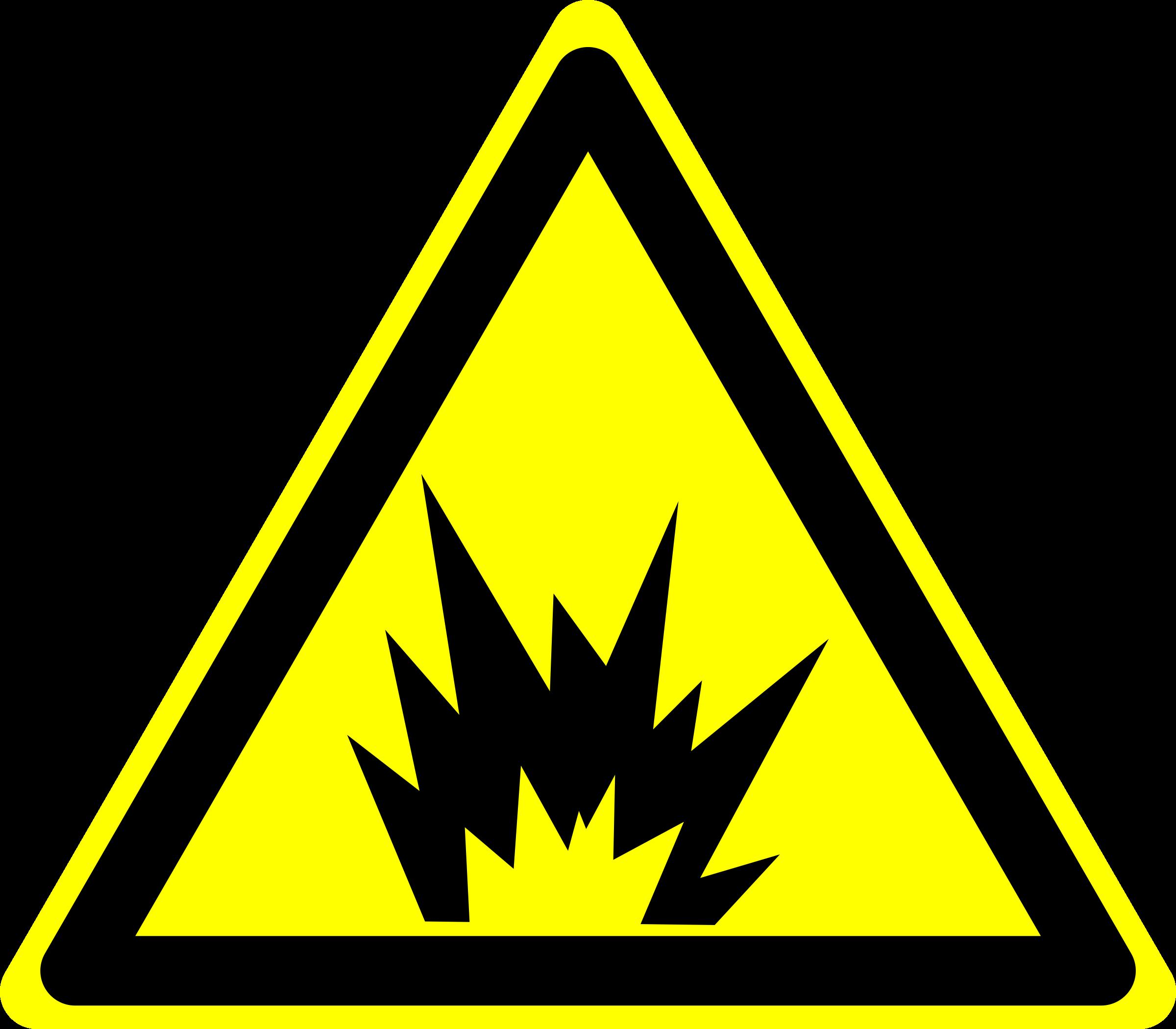 Clipart explosion office. Hazard warning sign big