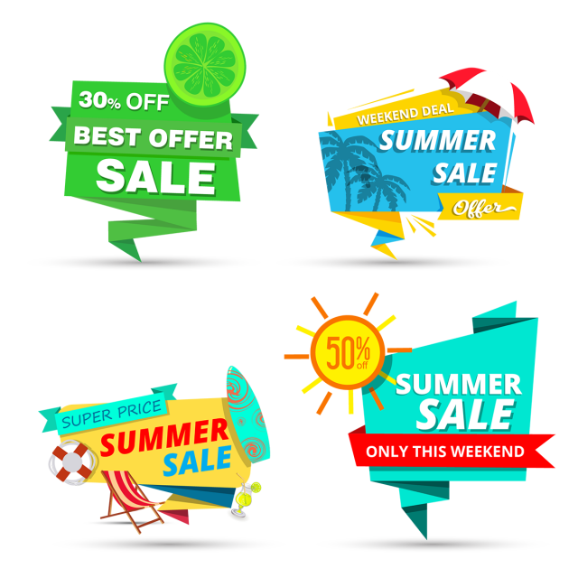 Summer sale tags design. Clipart explosion price tag