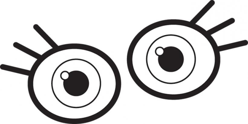Clipart eye children's. Children black and white