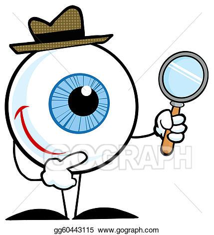 Vector art eyeball drawing. Eyes clipart detective
