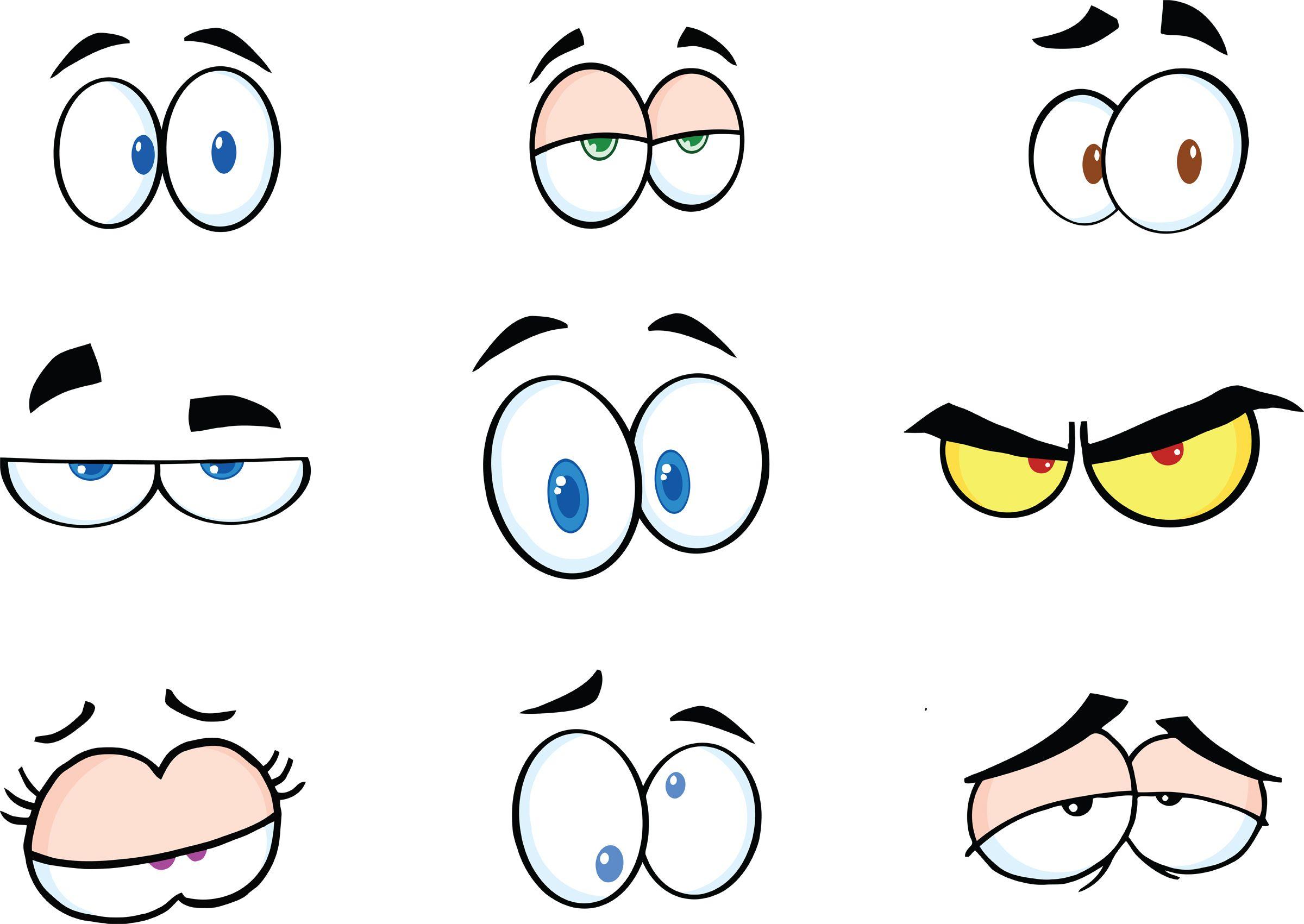 Clipart eyes emotion. Funny cartoon free printables