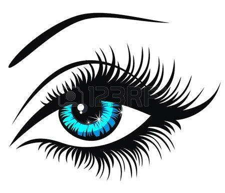 Stock vector lips makeup. Eyeball clipart eyelash