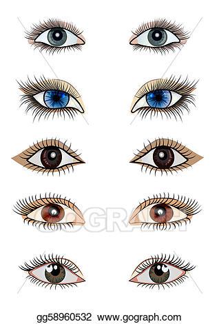 Eye clipart feminine. Vector art kit opened
