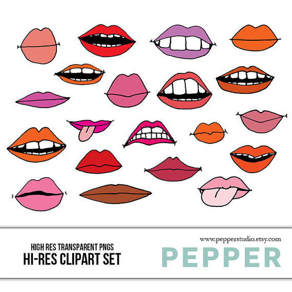 Lips clipart realistic. Doodles illustrated scrapbooking