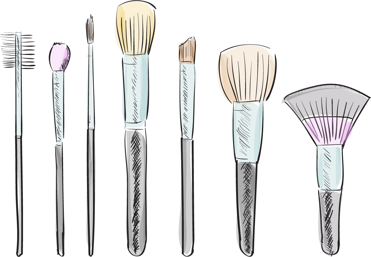 Brushes drawing at getdrawings. Lipstick clipart makeup kit