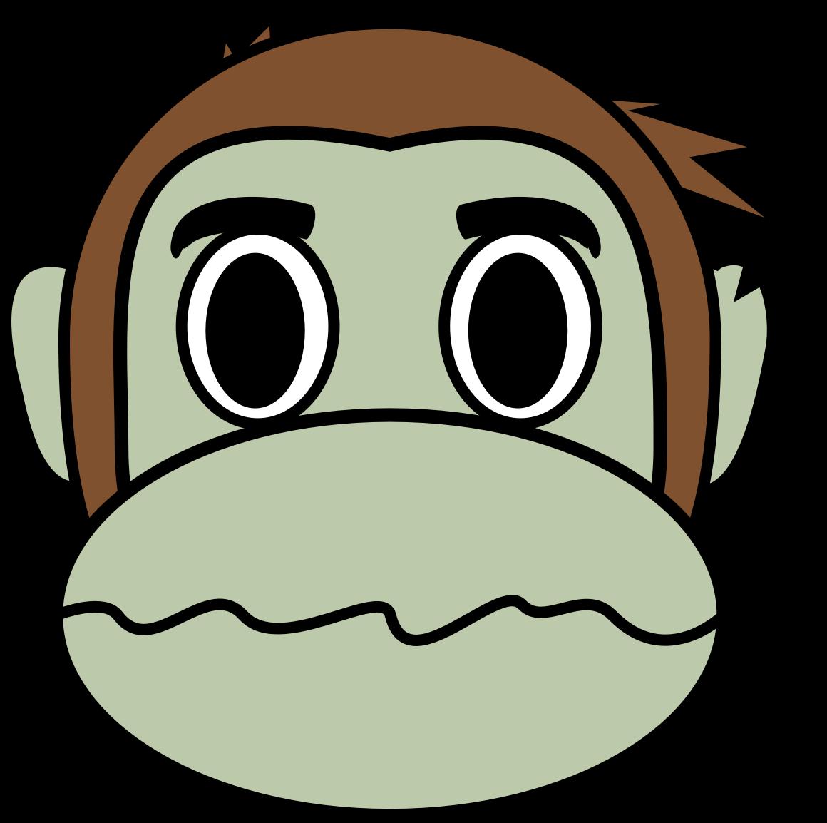 Monkey emoji big image. Zombie clipart face