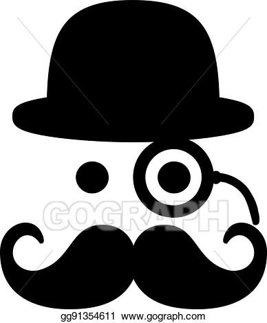 Monocle clipart eye. Vector stock mustache with