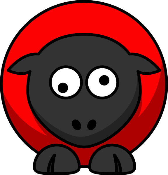 Red on black googly. Eyes clipart sheep