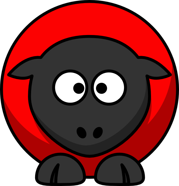 Red on black cross. Clipart eyes sheep