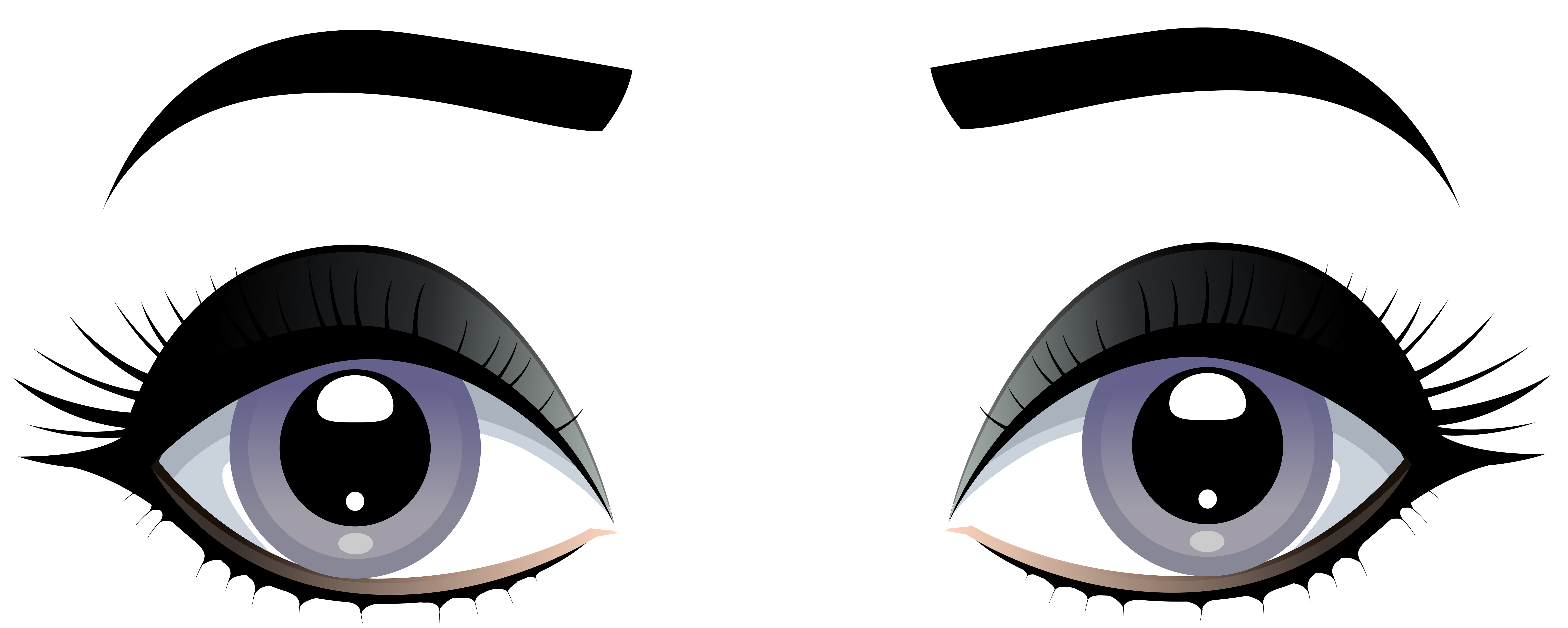 Eyes clipart. Female grey with eyebrows
