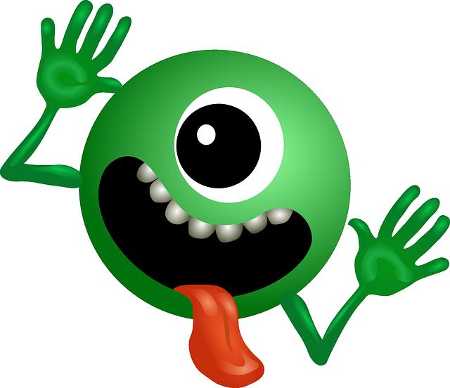 Alien monster ball mascot. Ufo clipart green