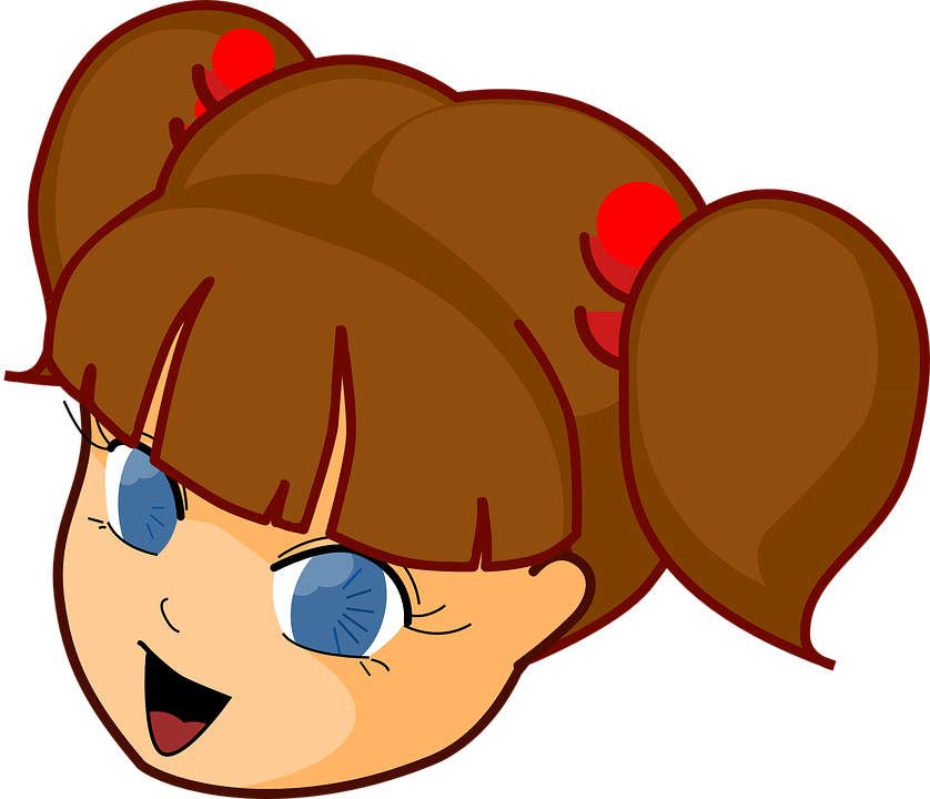 Clipart eyes blue. Cartoon girl with brown