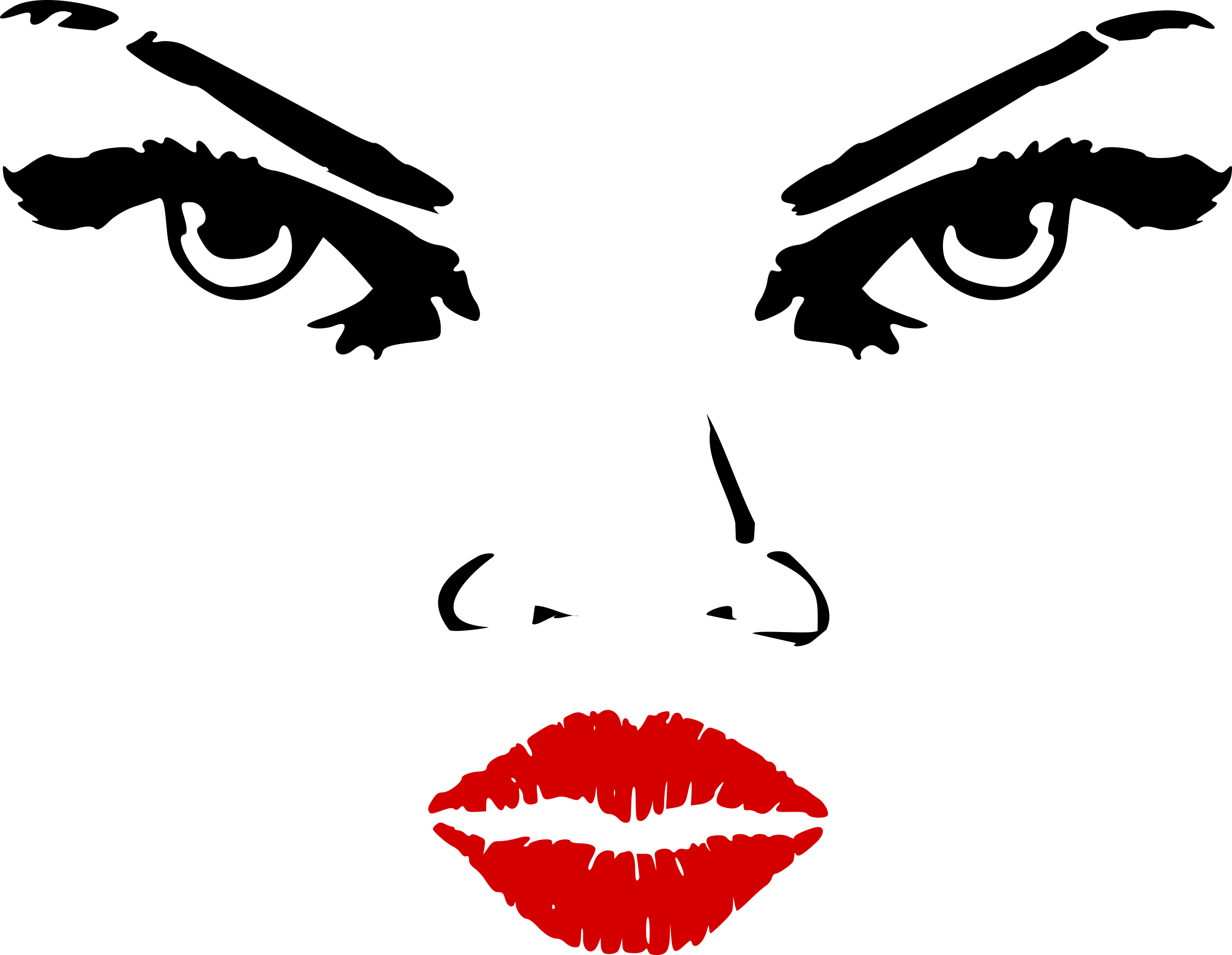 Woman eyes nose lips. Lipstick clipart black and white