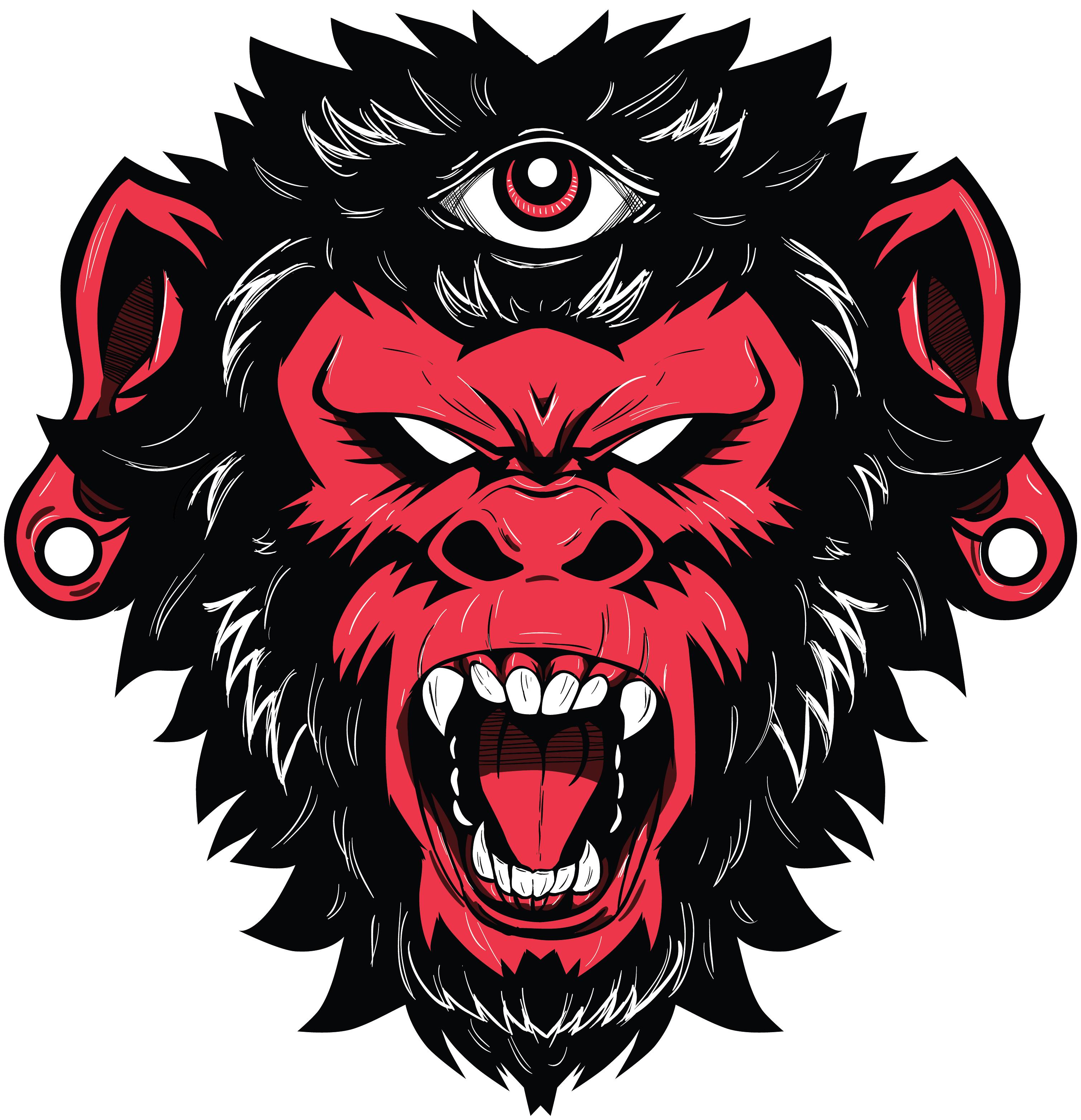 Demon monkey vector illustration. Eye clipart gorilla