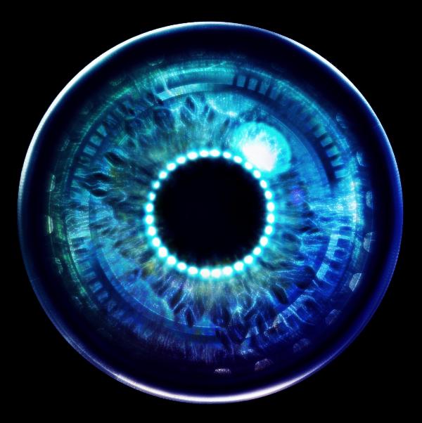 Robot sticker by eyes. Eyeball clipart robotic eye