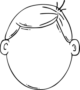 Clipart face. Kid black and white