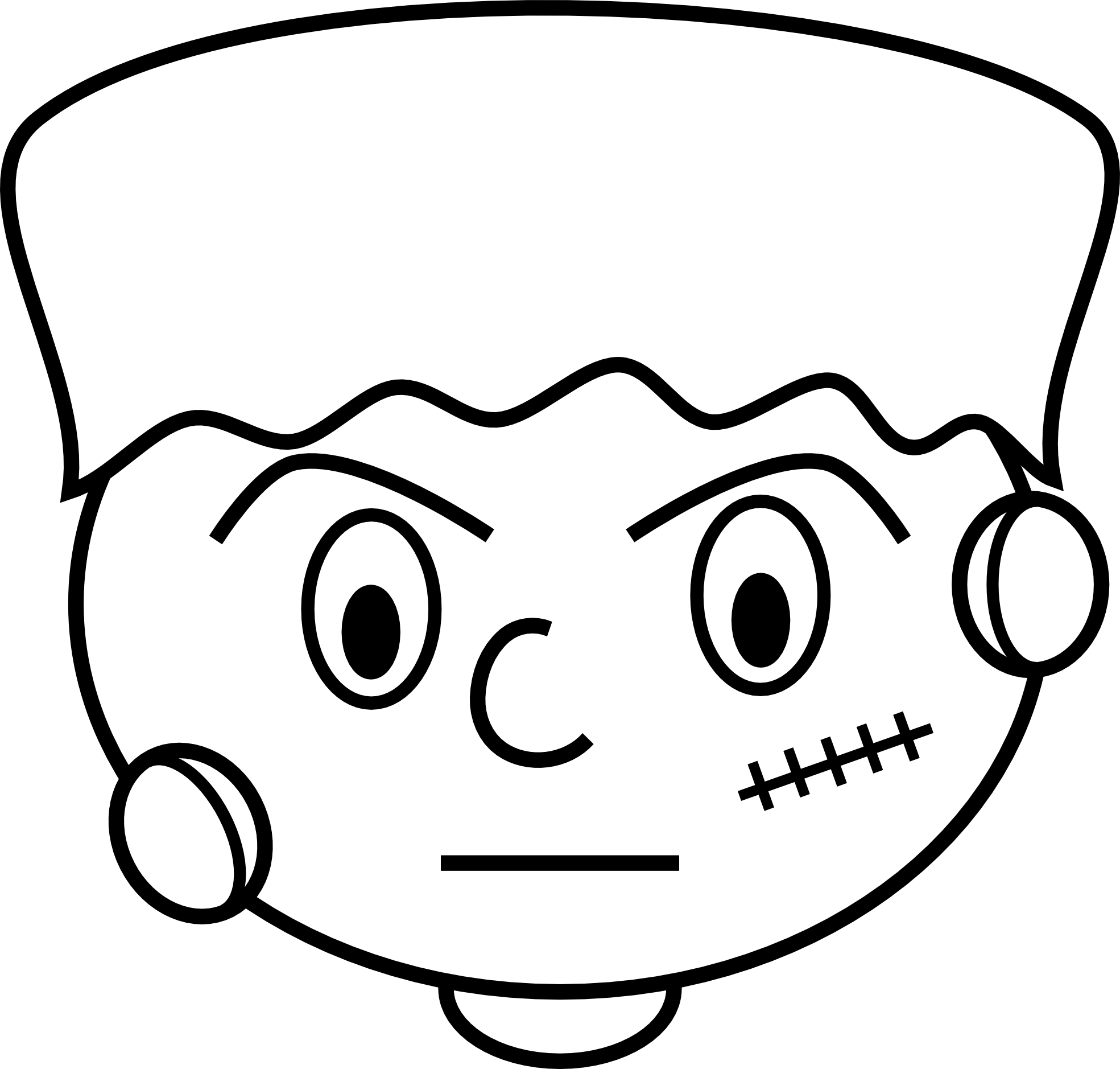 Free frankenstein cartoon face. Dory clipart black and white