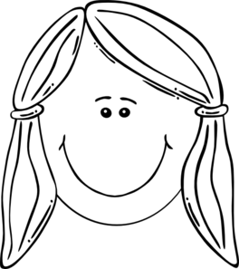 Smiling girl balck clip. Face clipart black and white
