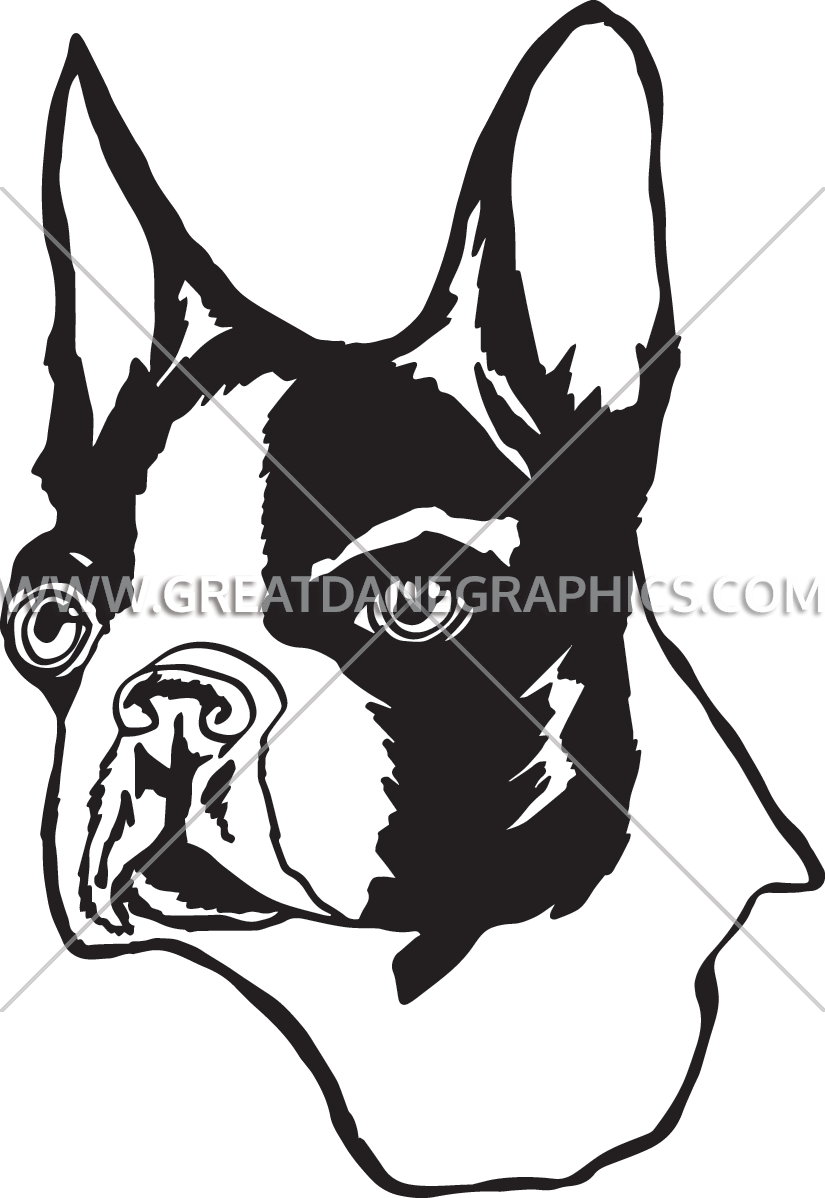 Clipart face boston terrier. Production ready artwork for